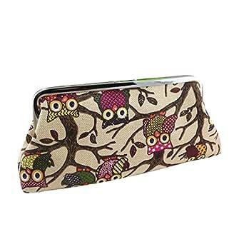 BESSKY Women Lovely Style Lady Wallet Hasp Owl Purse Clutch Bag, Khaki