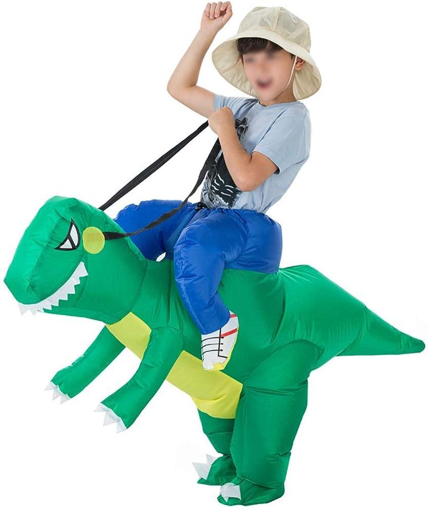 Mallalah Traje Inflable de Dinosaurio T-Rex Disfraces de Halloween Blow up Disfraces Adultos/Niños