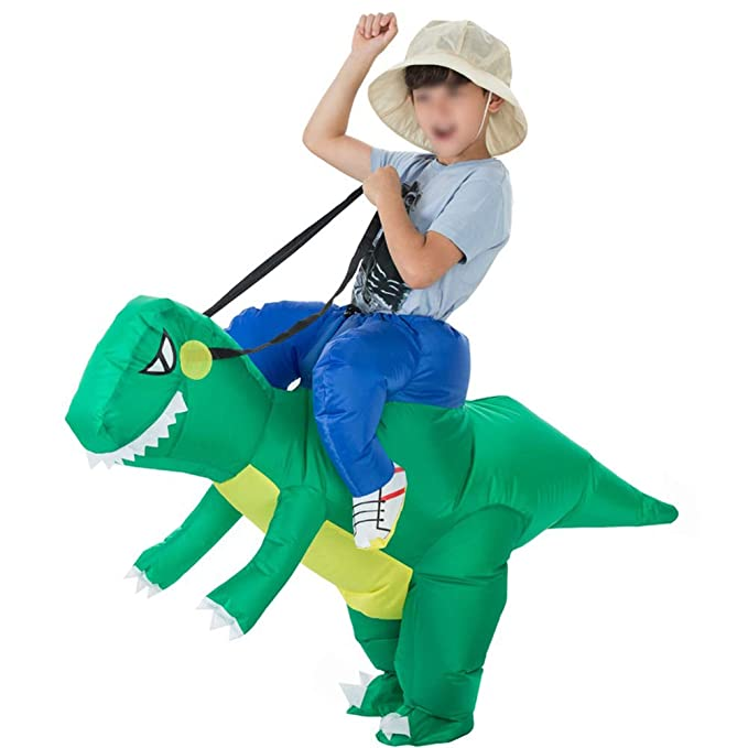 Mallalah Traje Inflable de Dinosaurio T-Rex Disfraces de Halloween Blow up Disfraces Adultos/Niños