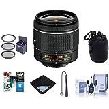 Nikon AF-P DX NIKKOR 18-55mm f/3.5-5.6G VR Zoom Lens U.S.A. Warranty - Bundle 55mm Filter Kit, Lens Pouch, Lens Wrap (15x15), Cleaning Kit, Cap Leash, Software Package