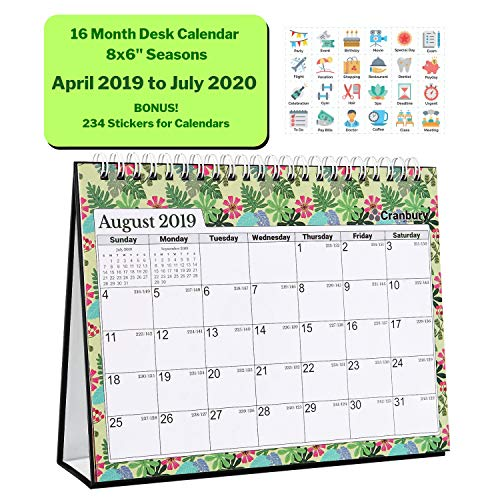 (Standing Desk Calendar 2019-2020 (8x6, Seasons) 16 Unique Monthly Designs, Double-Sided, Use Desktop Calendar Now to July 2020, Great Tent Calendar, Flip Calender, Easel Calandar, Table Top)