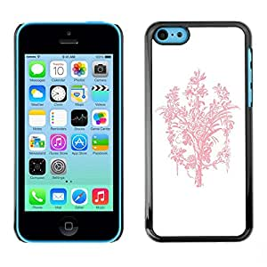 [Neutron-Star] Snap-on Series Teléfono Carcasa Funda Case Caso para iPhone 5C [Ramo rosado blanco minimalista Limpio]