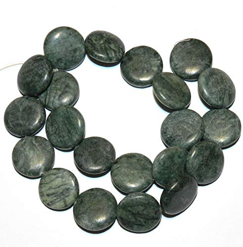 (Bead Jewelry Making Green Marble 20mm Flat Puffed Round Coin Gemstone Beads 15