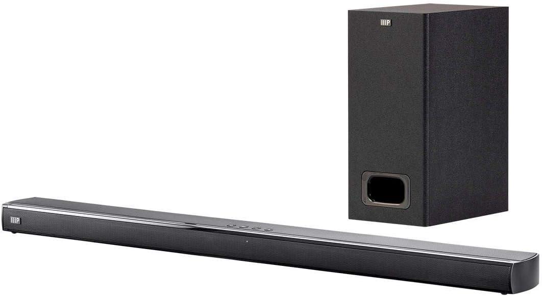 Monoprice 138037 SB-200SW Premium Slim Soundbar with Wireless Subwoofer HDMI ARC Bluetooth Optical and Coax Inputs