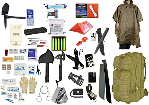 2 Person Supply 5 Day Emergency Bug Out S.O.S. Food Rations, Drinking Water, LifeStraw Personal Filter, First Aid Kit, Tent, Blanket, Tan Backpack, Tan Poncho + Essential 21 Piece Survival Gear Set