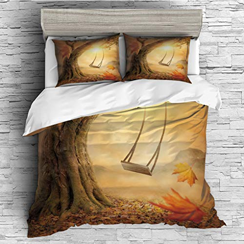 3 Pieces (1 Duvet Cover 2 Pillow Shams)/All Seasons/Home Comforter Bedding Sets Duvet Cover Sets for Adult Kids/Double/Surrealistic,Dream Swing Hanged on Majestic Tree Magic Fall Season Childhood Pict -