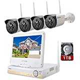 ONWOTE All-in-one 1080P HD NVR Wireless Home Security Camera System Outdoor with 10.1' LCD Monitor, 1TB Hard Drive and 4 Night Vision IP Surveillance Camera, Remote Home Monitoring System, Plug n Play