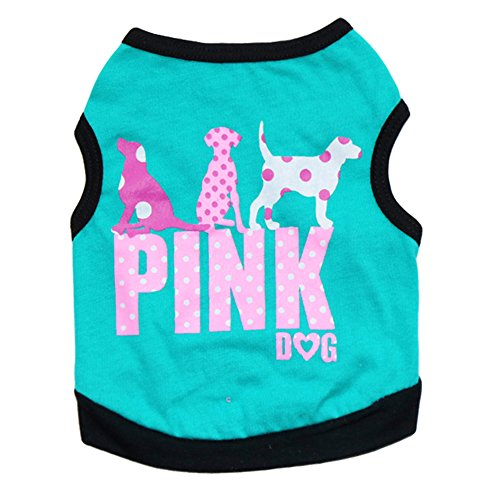 thes , Tiny Dog Soft Vest PINK Letters Printed Breathable Sleeveless Polyester T-shirt Cat Puppy Cool Clothes for Summer Spring (S, Blue) (Pink Dog T-shirt)