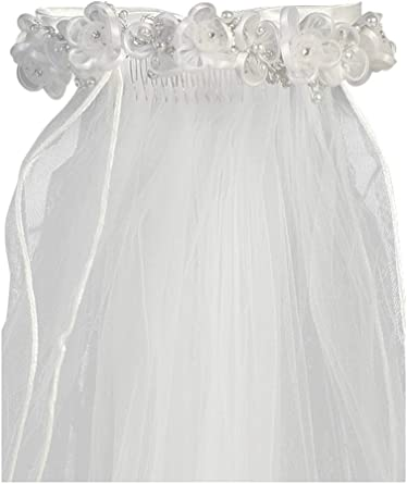 White Holy 1st Communion Headpiece with Comb and Flowers Swea Pea /& Lilli Girls First Communion Veil