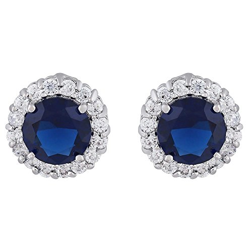 Shaze Rhodium Plated Blue Macy Ear Studs by shaze