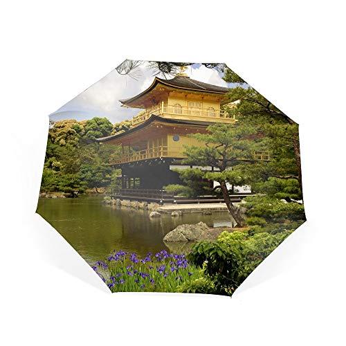 Kinkaku Ji Temple Kyoto Japan Compact Travel Umbrella - Windproof,Auto Open/Close