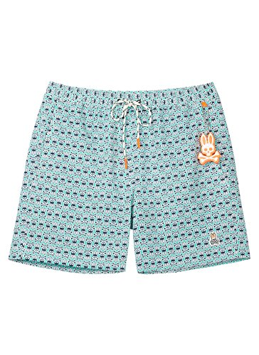 Psycho Bunny Men's Bunny Print Bathing Suit (Wave, XL)]()