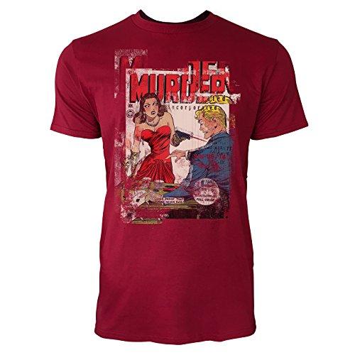 SINUS ART® The Murder Herren T-Shirts stilvolles dunkelrotes Cooles Fun Shirt mit tollen Aufdruck