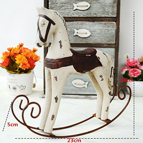 Design Rocking Decorative Horse - UChic 1PCS Wood Retro Old Horse Rocking Furnishing Ornaments Gift Vintage Study Store Home Decor Statuette Wood Art Crafts Figurines