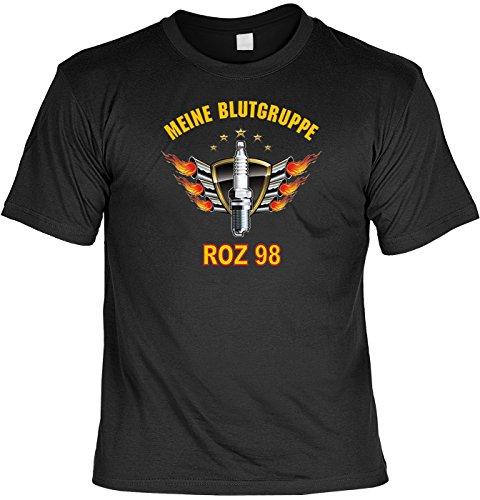 T-Shirt mit Urkunde - Meine Blutgruppe - ROZ 98 - lustiges Sprüche Shirt als Geschenk für echte Biker mit Humor - NEU mit gratis Zertifikat!
