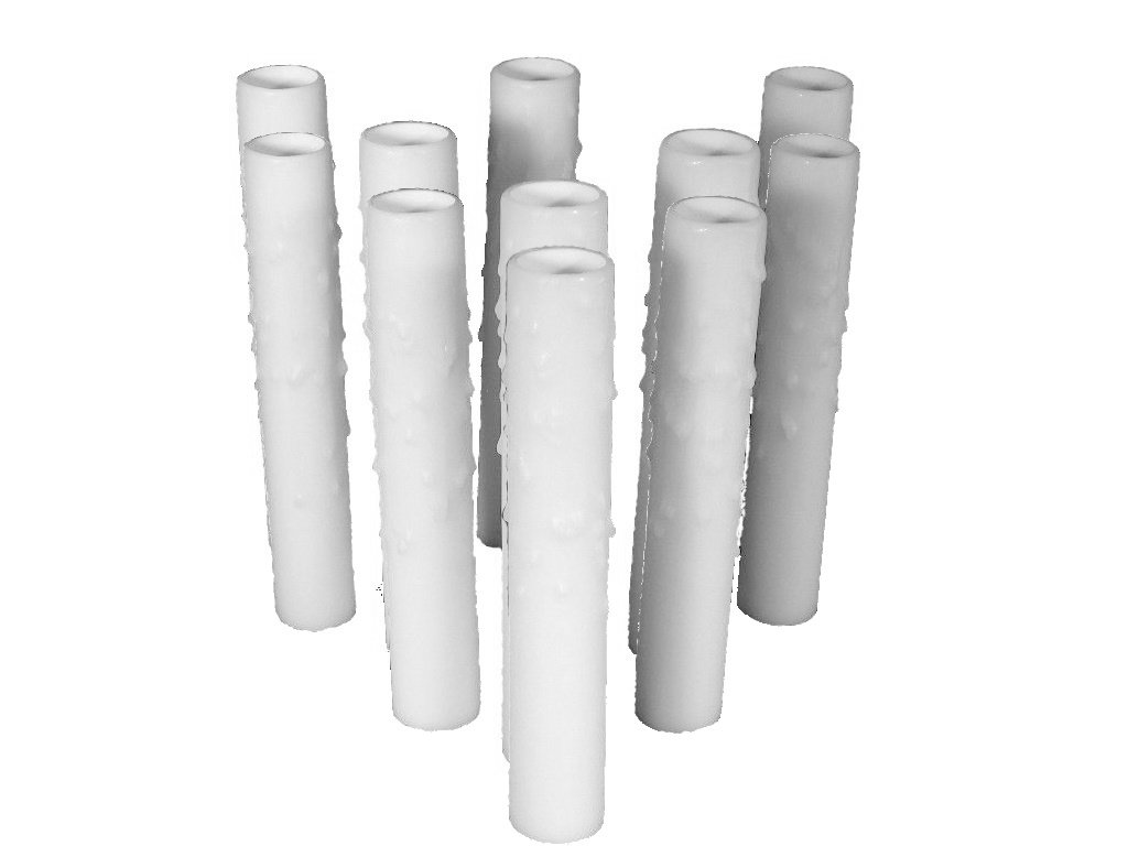 Set of 12 pc.5'' White Candelabra Base Thin 3/4'' Inner Diameter Beeswax Candle Covers, Socket Sleeves by Lighthouse Industries
