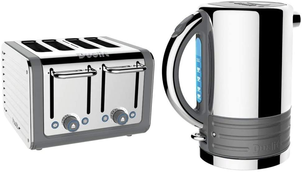 Dualit Architect Stainless Steel Kettle & 4 Slice Toaster Set Telegrey