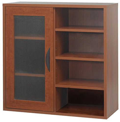 Safco Products 9444CY Apres Modular Storage Single Door/Open Shelves, Cherry (Bookshelf Single)