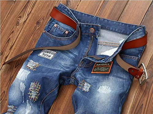 Uomo Il Buco Blue Pantaloni Jeans Denim Flange Estilo 0020 Especial Tempo Ricamo Patch Indossato Per Libero Originali Slim Da Dritto Classico Brillante Distintivo Nuovo qREOI