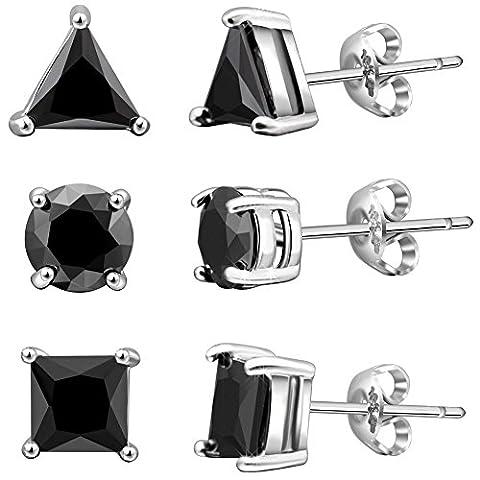 Murtoo Silver Stud Earrings Black CZ Men Women 6mm Geometric Shape 3 Pairs With Gift Box (Dark Black)
