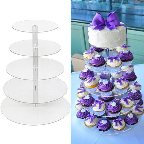 5 Tier Round Clear Acrylic Cupcake Stand Wedding Birthday Display Cake Tower by Globalbid