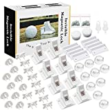 Baby Proofing, 44 PCS Magnetic Cabinet Locks Child Safety, 8 Cabinet Locks + 2 keys, 10 Corner Guards, 20 Outlet Plug Covers, with Strong 3M Adhesive Tape and Metal Screws