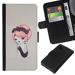 EJOY---Tirón de la caja Cartera de cuero con ranuras para tarjetas / LG Nexus 5 D820 D821 / --Pin del vintage encima