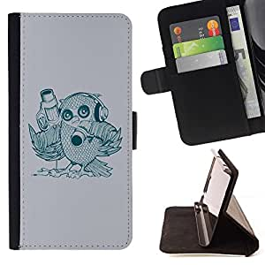 DEVIL CASE - FOR Apple Iphone 6 - Abstract Bird - Style PU Leather Case Wallet Flip Stand Flap Closure Cover