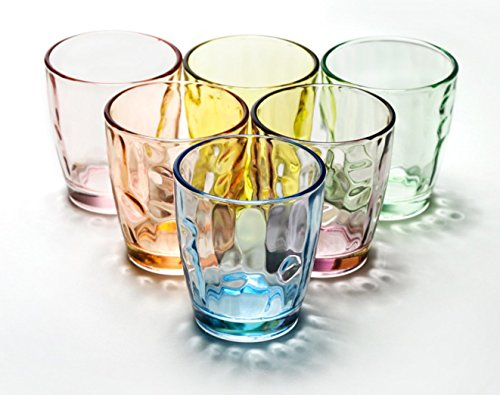 Water Glass Cup Set Glassware Drinkware Glass Cups Set - 6 PCS, Colorful Glasses Mugs Glasses Ware for Water and Drinking by YYVIGO (8.5OZ, - Glasses Colorful