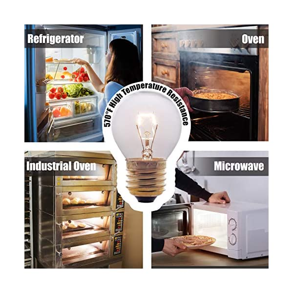 Oven Light Bulbs – 40 Watt Appliance Replacement Bulbs for Oven, Stove, Refrigerator, Microwave. Incandescent - High Temp G45 E26/E27 Socket. Medium Brass Lead-Free Base - 400 Lumens - Clear. 2 Pack 2