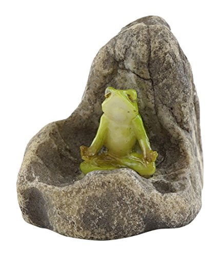 Top Collection Miniature Fairy Garden and Terrarium Mini Frog Meditating Statue