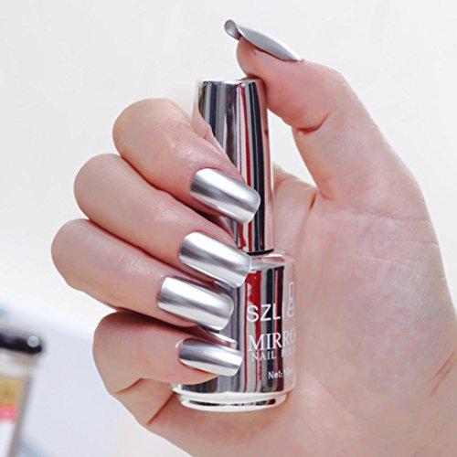 Enjocho Mirror Nail Polish,18ml Metallic Nail Polish Magic Mirror Effect Chrome Nail Art Polish Varnish (L)