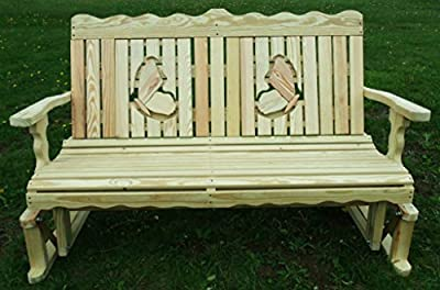4 Ft Pressure Treated Pine Designs Unfinished Butterflies Cutout Outdoor Glider Bench
