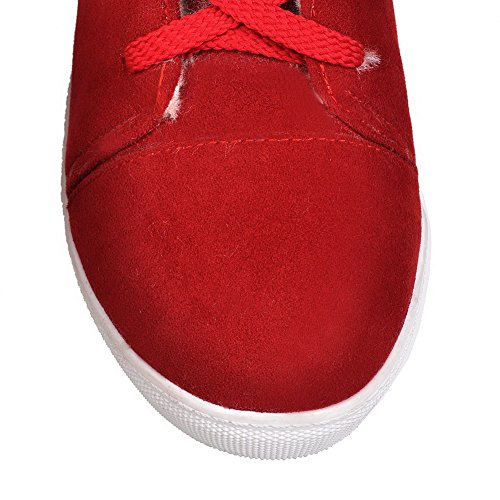 Low Round Boots Closed Solid AmoonyFashion Red Toe Heels Imitated Mid Women's Suede Top PgYqqxFw