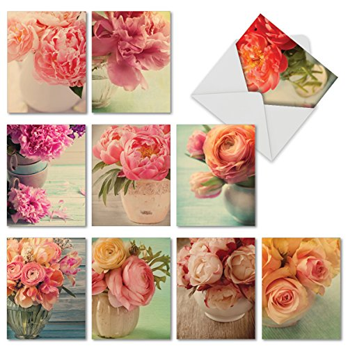 (Full Blooms - 10 Assorted Blank Note Cards (4 x 5.12 Inch) - Floral Note Cards with Envelopes - Assorted Greeting Cards for All Occasions, Rose and Peony Flower Notecard Set M6553OCB)