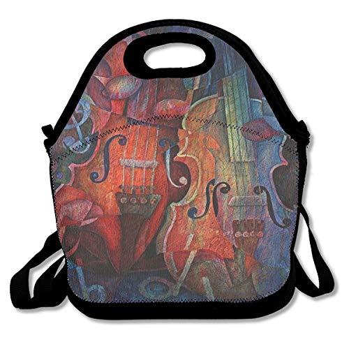 (Oil Painting Art Bass String Instrument Cello Lunch Bag Custom Bento Box Picnic Cooler Bag Lunch Tote Bag For Women Men)
