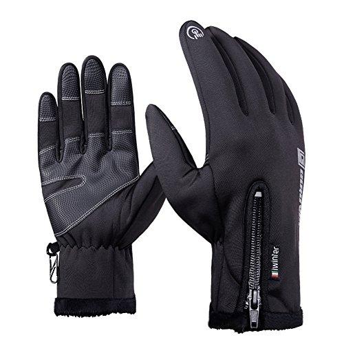- Mrsight Winter Gloves Outdoor Windproof Waterproof Touchscreen Anti-slip Thicken Super Warm Fleece Lined Full Finger Elastic Waist Zipper Cycling Running Sports Glove For Men & Women (Black, XXL)