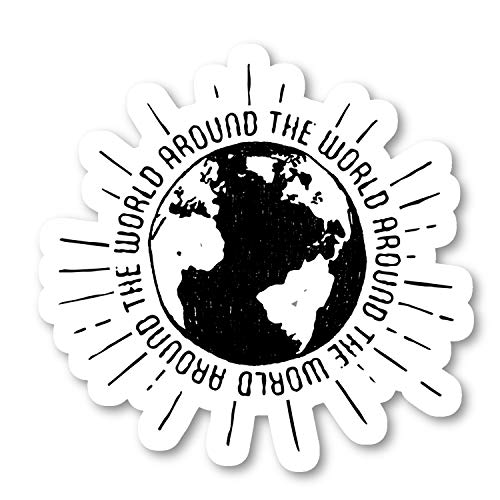 Around The World Sticker Travel Quotes Stickers - 3 Pack - Set of 2.5