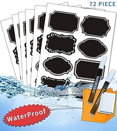 DuoFire Auto-adhésif Autocollant Tableau Noir Amovible Imperméable Mémo Sticker Étiquette pour l'organisation et le Marquage (72 Pièces),Cadeau gratuit