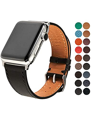 SONAMU New York French Barenia Premium Leather Strap Compatible with Apple Watch Band 38mm  Stainless Steel Clasp  Black