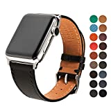 SONAMU New York French Barenia Premium Leather Strap Compatible with Apple Watch Band 38mm, Stainless Steel Clasp, Black
