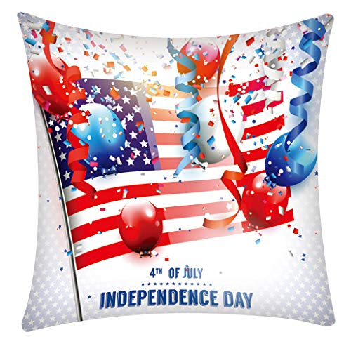 (QBQCBB Independence Day 4th of July Pillow Cases Sofa Cushion Cover Home Pillow Case(F))