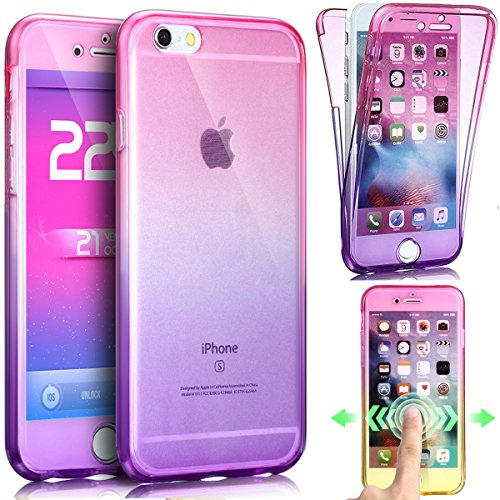 Price comparison product image iPhone 5S Case,iPhone SE Case,iPhone 5 Case,ikasus [Full-Body 360 Coverage Protective] Ultra-Slim Scratch-Resistant Front Back Soft Clear TPU Silicone Rubber Case Cover for iPhone 5S 5 SE,Pink Purple