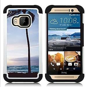 - palm tree sunset sunrise night sky/ H??brido 3in1 Deluxe Impreso duro Soft Alto Impacto caja de la armadura Defender - SHIMIN CAO - For HTC ONE M9