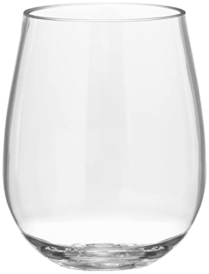 f15a8380c55 Unbreakable Plastic Wine Glasses (4 Pack) - Reusable Stemless Acrylic  Glassware