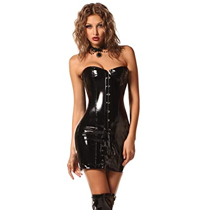 600bc6b9c07 XGGZ Leather Corset Dress Steampunk Gothic Sexy Overbust Steel Boned  Bustier Dress