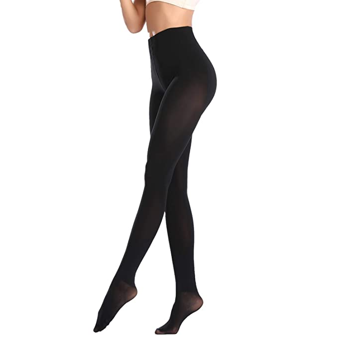 4789514b05c Opaque Thermal Tights For Women Winter Control Top Pantyhose Winter Footed  Thick Compression Hosiery (Black