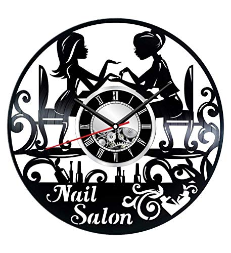 Manicure Salon Wall Clock Made of Vinyl Record - Stylish Clock and Amazing Gifts Ideas - Unique Home Decor - Personalized Presents for Men Women Kids - Great Wall Art for Living Room Bedroom Kitchen]()