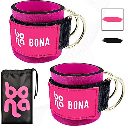 BONA Fitness Ankle Straps for Cable Machines Ankle Cuffs with Carry Bag – Padded Ankle Strap Workout for Kickbacks…