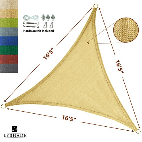 LyShade 16 5 x 16 5 x 16 5 Triangle Sun Shade Sail Canopy with Stainless Steel Hardware Kit Sand – UV Block for Patio and Outdoor